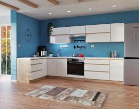 Rohová kuchyňa Line ľavý roh 320x180 cm (biela lesklá/dub sonoma)