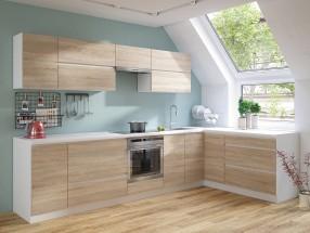 Rohová kuchyňa Line pravý roh 320x180 cm (dub sonoma/biela)