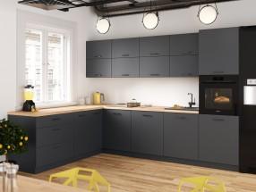 Rohová kuchyňa Lisa ľavý roh 300x220 cm (sivá)