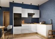 Rohová kuchyňa Lisse pravý roh 255x170 cm (biela lesklá)