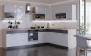 Rohová kuchyňa Marina ľavý roh 285x210 cm (biela lesklá/grafit)