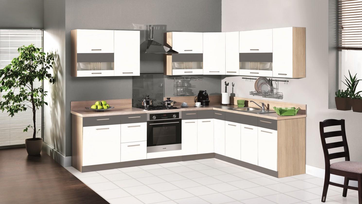 Rohová Kuchyňa Marina ľavý roh 285x210 cm (biela vysoký lesk/grafit)