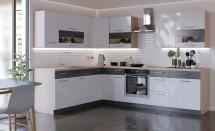 Rohová kuchyňa Marina pravý roh 285x210 cm (biela lesklá/grafit)
