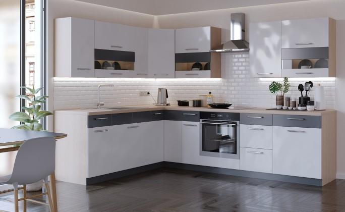 Rohová Kuchyňa Marina pravý roh 285x210 cm (biela vysoký lesk/grafit)