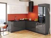 Rohová kuchyňa Marsala ľavý roh 260x200 cm (biela/sivá/lesk)