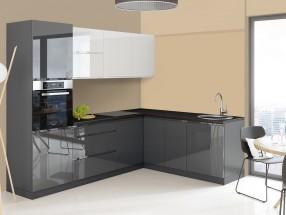 Rohová kuchyňa Marsala pravý roh 260x200 cm (biela/sivá/lesk)