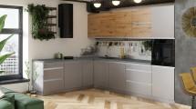 Rohová kuchyňa Metalica ľavý roh 320x220 cm (sivá, dub)