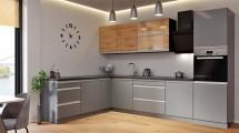 Rohová kuchyňa Metalica ľavý roh 320x220 cm (strieborná, dub)