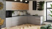 Rohová kuchyňa Metalica pravý roh 320x220 cm (sivá, dub)