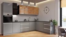 Rohová kuchyňa Metalica pravý roh 320x220 cm (strieborná, dub)
