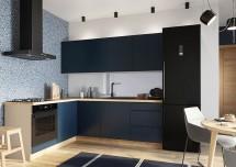 Rohová kuchyňa Minea ľavý roh 230x180 (modrá mat)