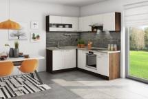 Rohová kuchyňa Nina ľavý roh 220x160cm (béžová/dub tmavý/piesok)