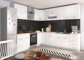 Rohová kuchyňa Rio pravý roh 270x170 cm (biela lesk/dub sonoma)