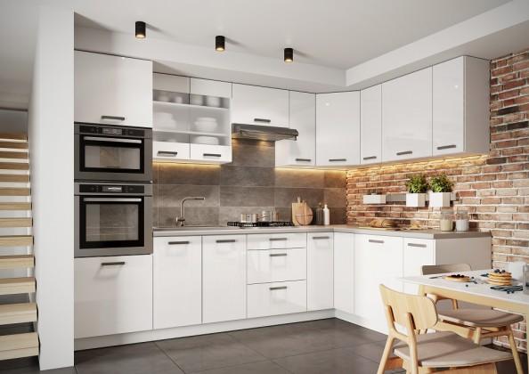 Rohová Kuchyňa Vicky - 290x180 cm (biela vysoký lesk)