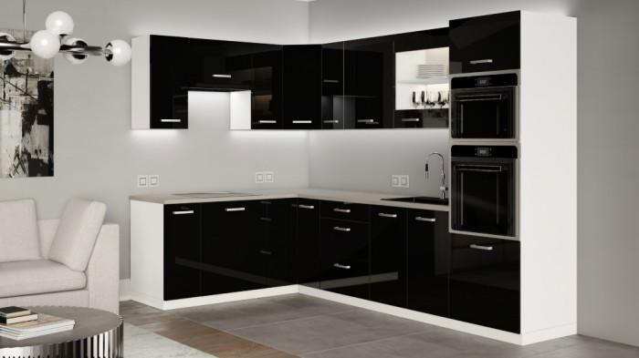 Rohová kuchyňa Vicky black ľavý roh 290x180 (čierna vysoký lesk)