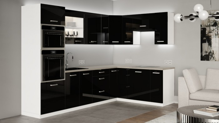 Rohová kuchyňa Vicky black pravý roh 290x180(čierna vysoký lesk)