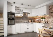 Rohová kuchyňa Vicky pravý roh 290x180 cm (biela lesklá)