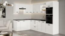 Rohová kuchyňa Vicky white ľavý roh 290x180cm(biela vysoký lesk)