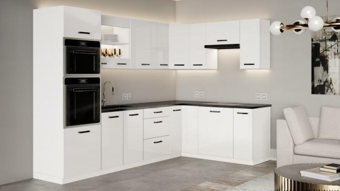 Rohová kuchyňa Vicky white pravý roh 290x180 (biela vysoký lesk)