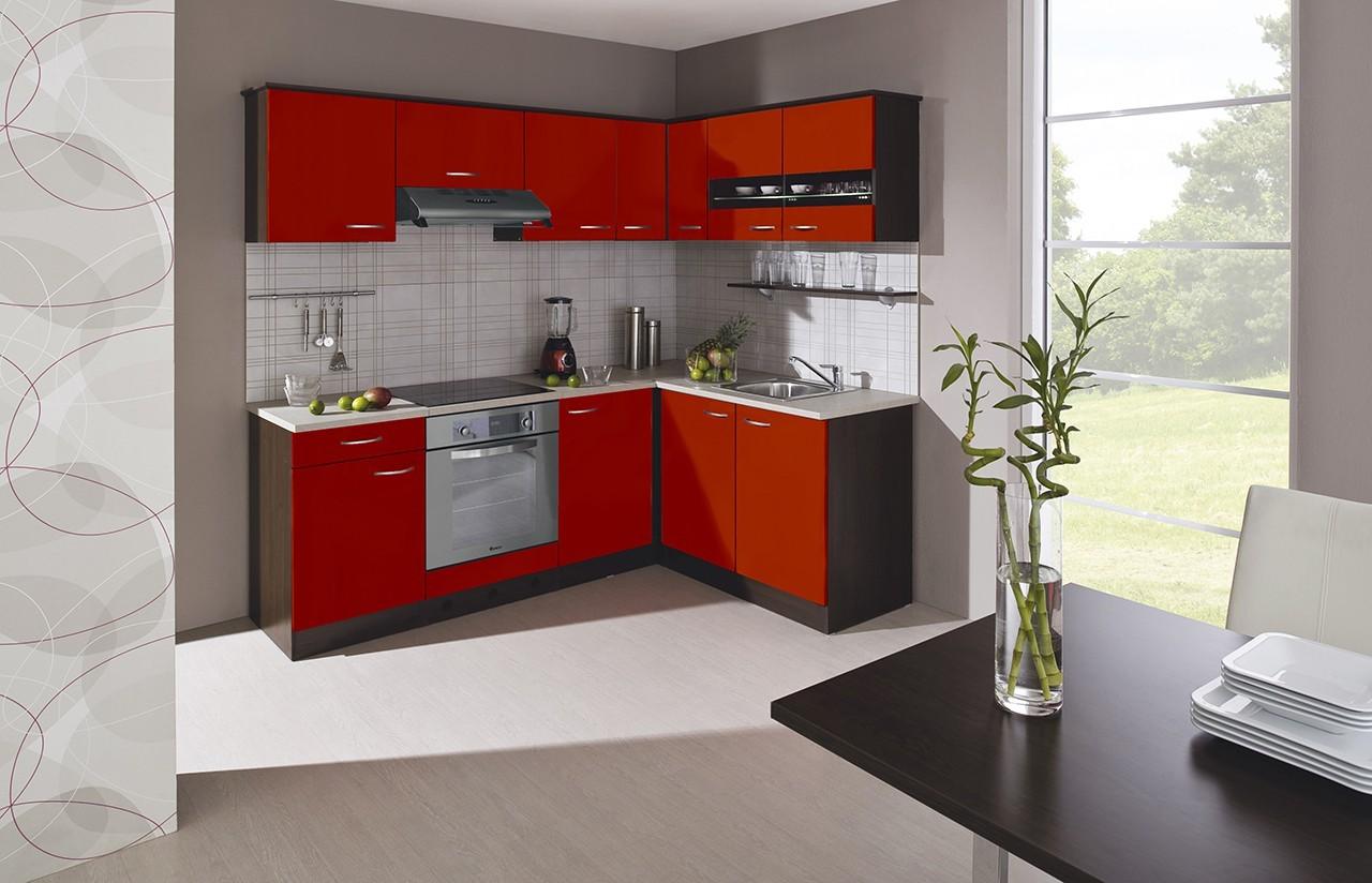Rohová Nina - Kuchyne, 220x160 cm (červená, dub tmavý, piesok)