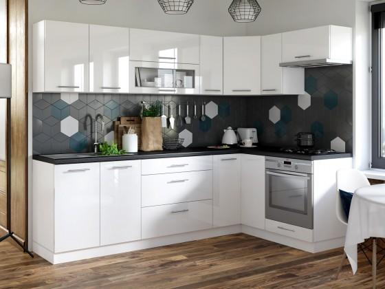 Rohová Rohová kuchyňa Emilia pravý roh 243x143 cm (biela lesklá/čierna)
