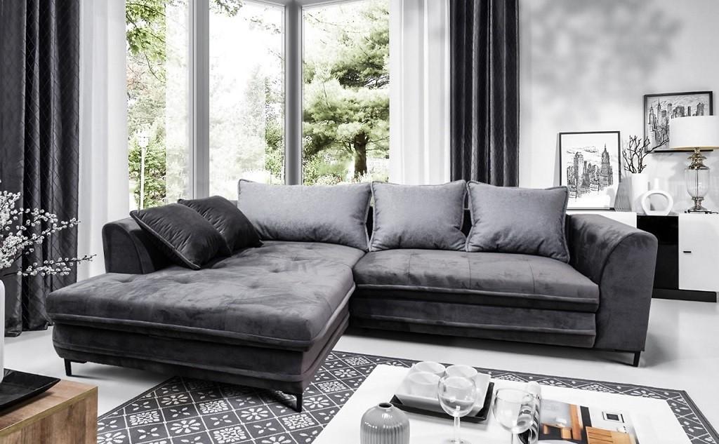Rohová Rohová sedačka rozkladacia Genoa ľavý roh ÚP sivá, čierna