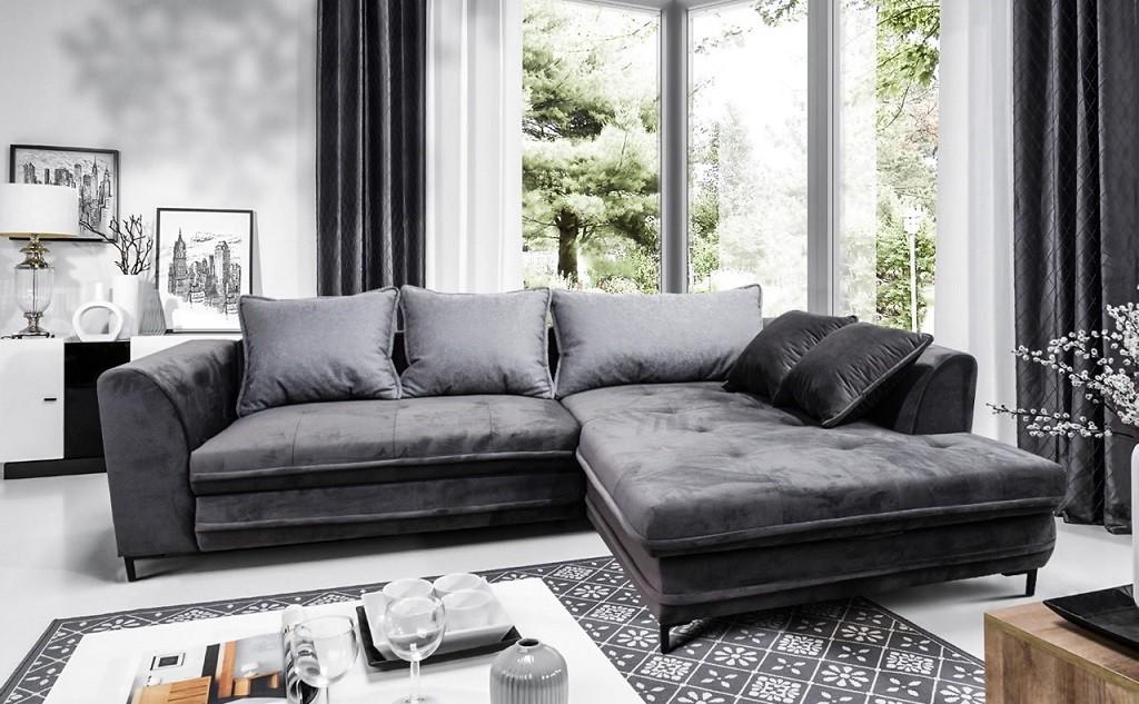 Rohová Rohová sedačka rozkladacia Genoa pravý roh ÚP sivá, čierna