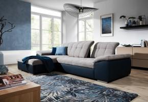 Rohová sedačka rozkladacia Ateca ľavý roh ÚP sivá, modrá