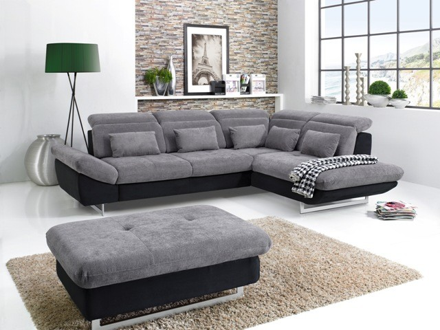 Rohová sedačka rozkladacia Jersey pravý roh čierna, sivá