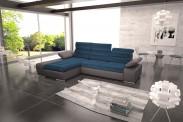 Rohová sedačka rozkladacia Korfu ľavý roh ÚP sivá, modrá