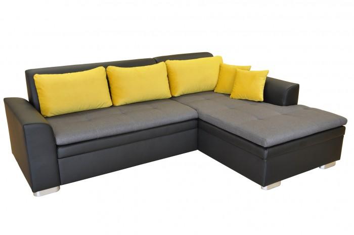 Rohová sedačka rozkladacia Vanilla pravý roh ÚP černa sivá, žlutá
