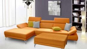 Rohová sedačka Soni s taburetkou ľavý roh oranžová