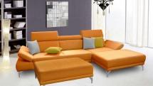 Rohová sedačka Soni s taburetkou pravý roh oranžová