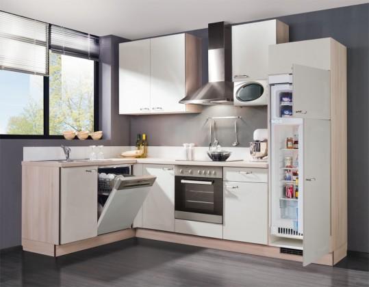 Rohová Slowfox - Kuchyňa rohová, 280x175cm (biela/akácie)
