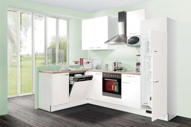 Rohová Slowfox - Kuchyňa rohová, 280x175cm (biela/horský dub/biela)