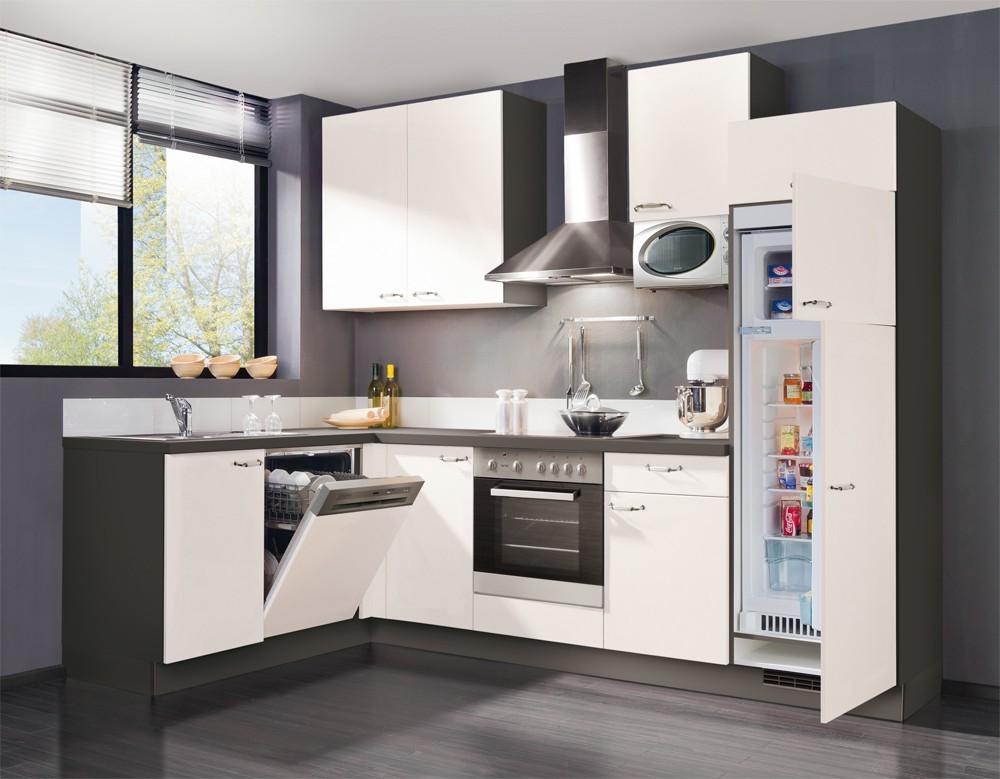 Rohová Slowfox - Kuchyňa rohová, 280x175cm (biela/sivá)