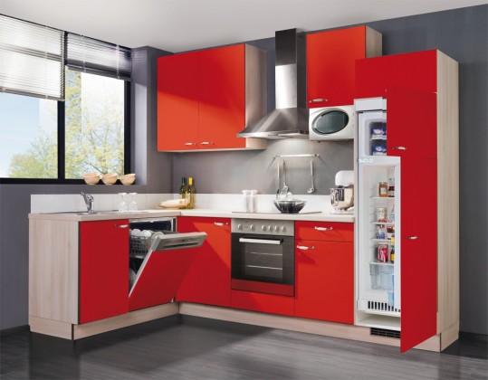 Rohová Slowfox - Kuchyňa rohová, 280x175cm (červená/akácie)