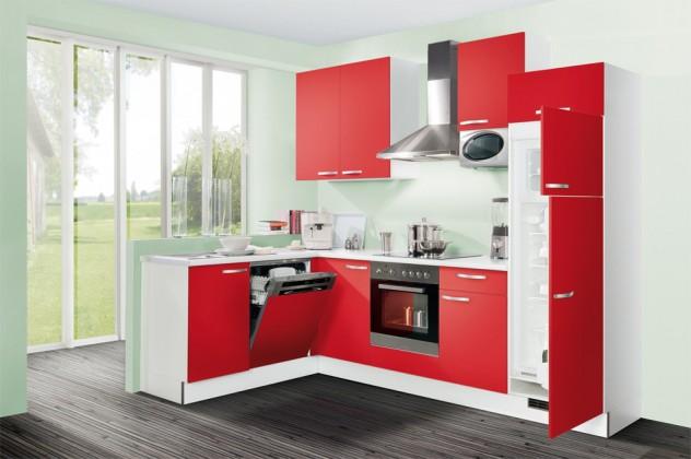 Rohová Slowfox - Kuchyňa rohová, 280x175cm (červená/biela)