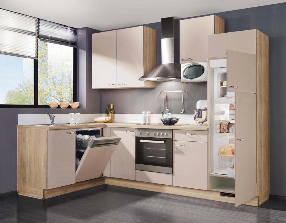 Rohová Slowfox - Kuchyňa rohová, 280x175cm (krémová/horský dub)