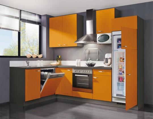 Rohová Slowfox - Kuchyňa rohová, 280x175cm (oranžová/sivá)