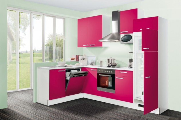 Rohová Slowfox - Kuchyňa rohová, 280x175cm (růžová/biela)