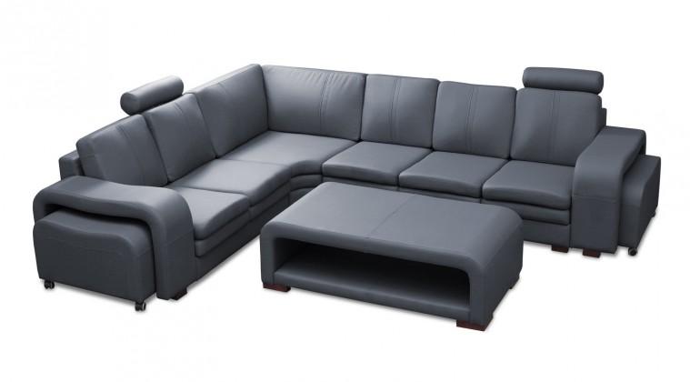 Rohová Soft - roh ľavý, konferenčný stolík, 2x taburet (syntetická koža)