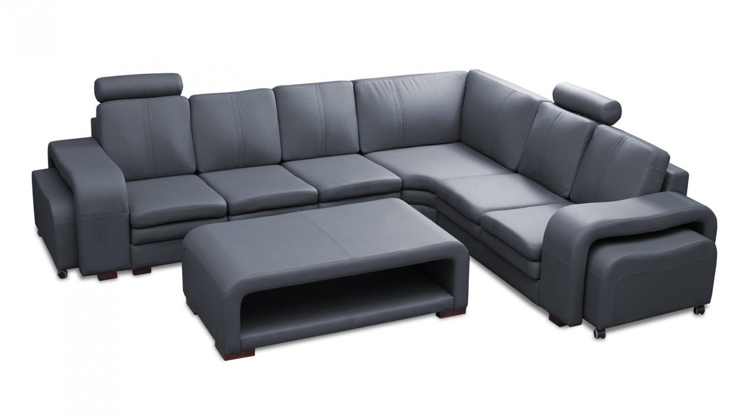 Rohová Soft - roh pravý, konferenčný stolík, 2x taburet (syntetická koža)