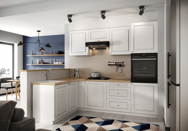 Rohové kuchynské linky Rohová kuchyňa Amelia ľavý roh 255x170 cm (biela matná)