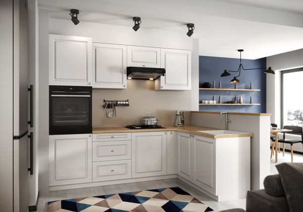 Rohové kuchynské linky Rohová kuchyňa Amelia pravý roh 255x170 cm (biela mat)