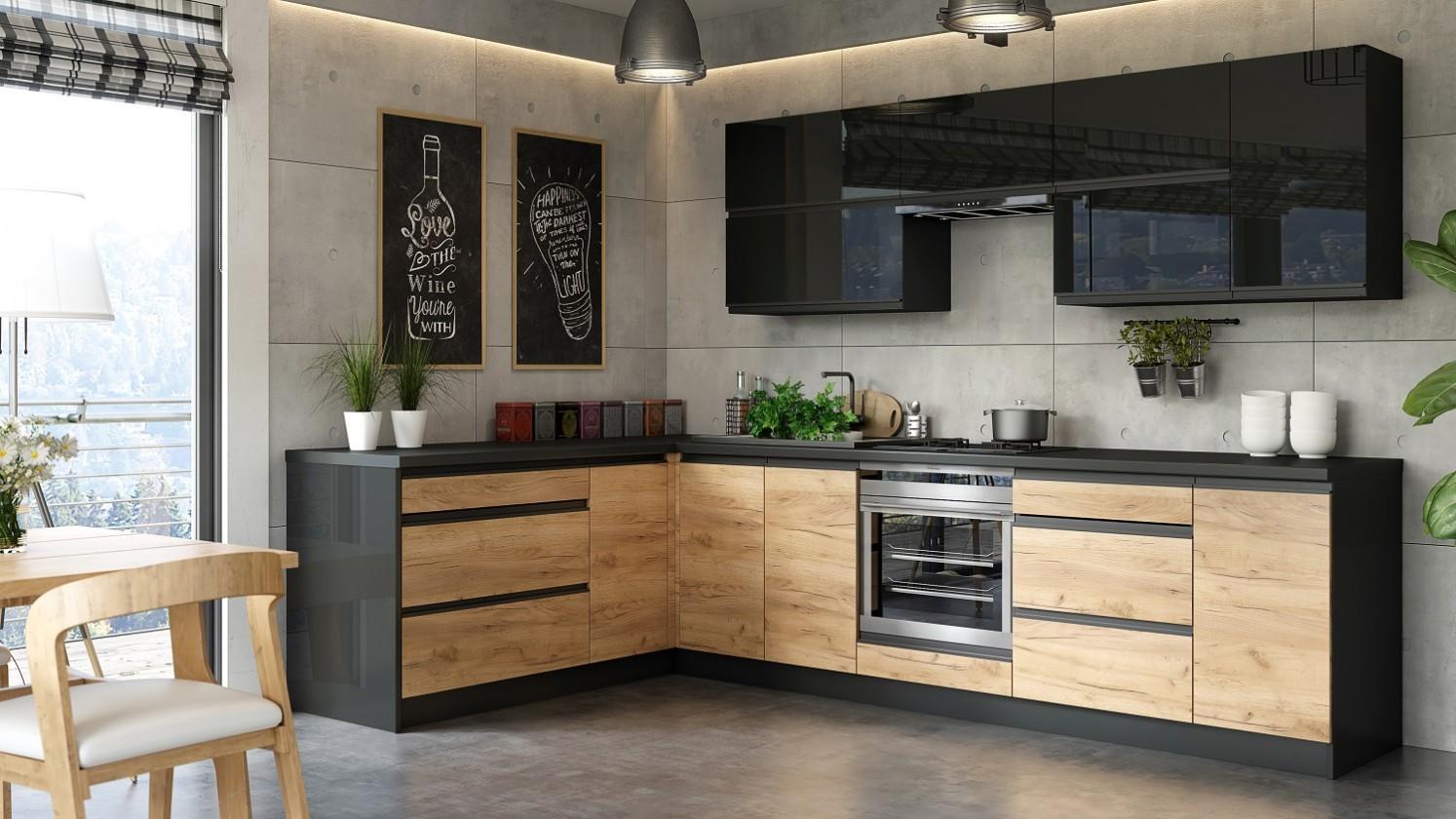Rohové kuchynské linky Rohová kuchyňa Brick ľavý roh 300x182 cm (čierna lesklá/craft)