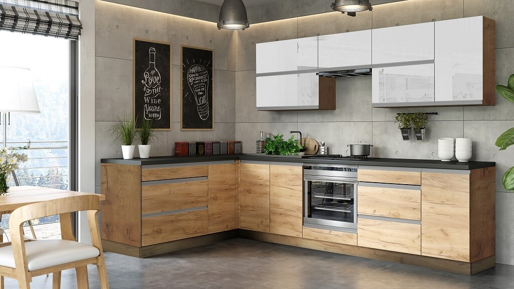 Rohové kuchynské linky Rohová kuchyňa Brick light ľavý roh 300x182 cm(biela lesk/craft)