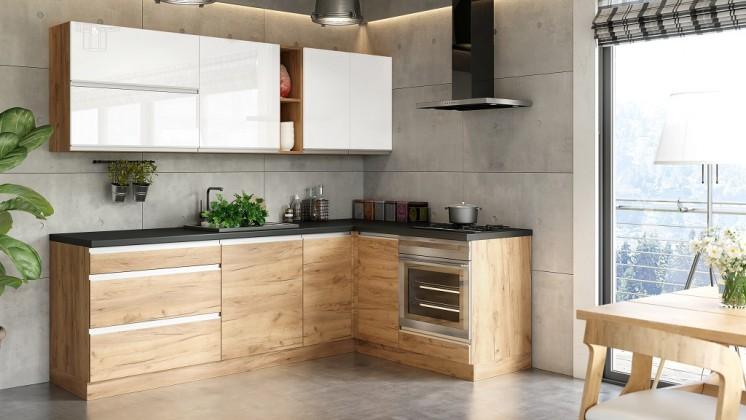 Rohové kuchynské linky Rohová kuchyňa Brick light pravý roh 240x160 cm(biela/dub craft)