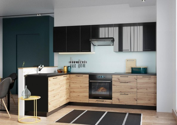 Rohové kuchynské linky Rohová kuchyňa Dixie ľavý roh 275x180 cm (čierna/dub)