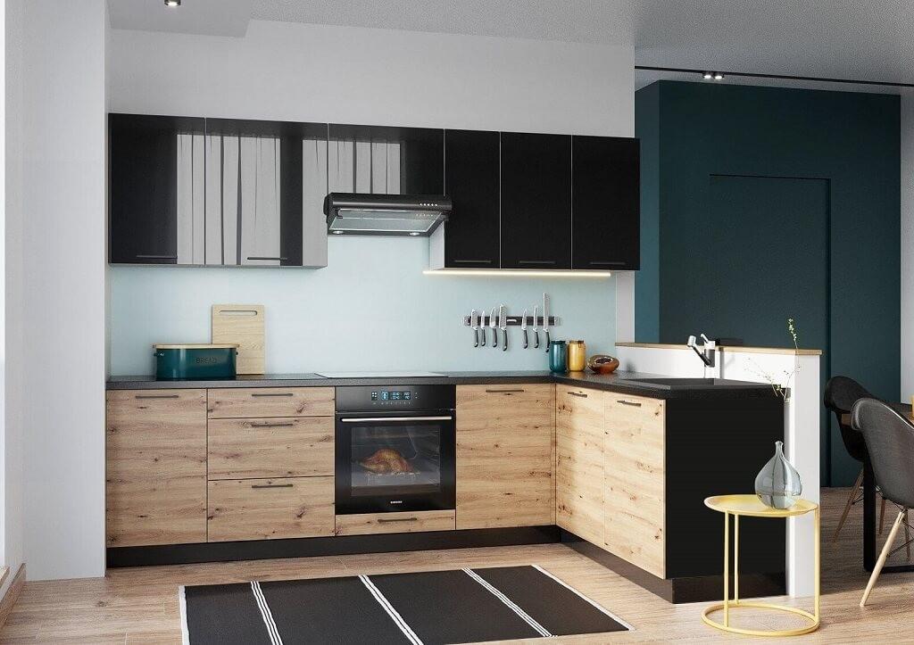Rohové kuchynské linky Rohová kuchyňa Dixie pravý roh 275x180 cm (čierna/dub)
